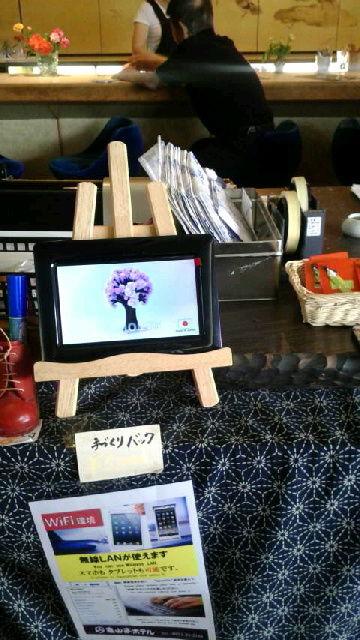 マジック桜を紹介する小型モニター
